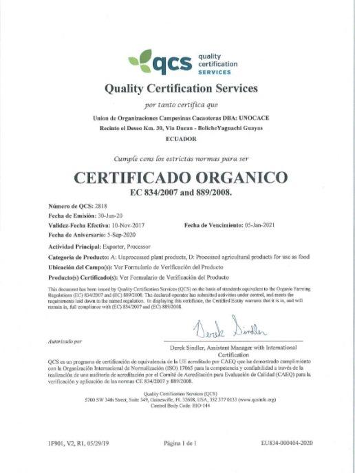 UNOCACE - Certificado Orgánico UE