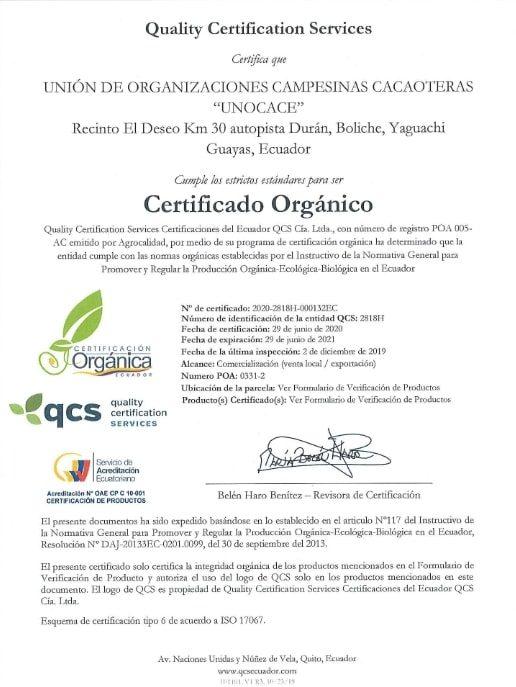 UNOCACE - Certificado Orgánico ECU