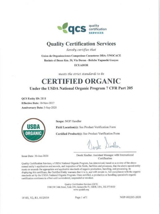UNOCACE - Certificado Orgánico NOP